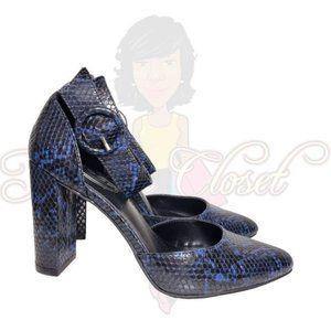 Scoop Blue SnakePrint Closed Toe Slip-On Heels